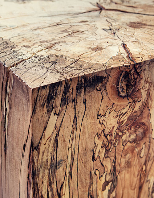 Spalted Beech Block Detail | Alex Brooks Furniture | Organically Inspired Wood Furniture Dorset